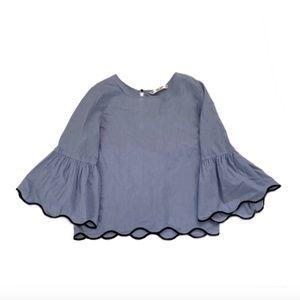 Zara Stripe + Scalloped Bell Sleeve Blouse